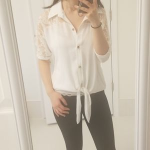 Collared Button Down White Lace Blouse
